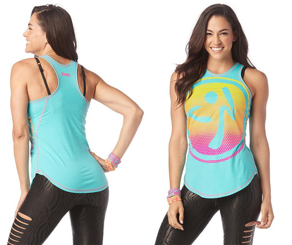 Zumba Fitness Happiness High Neck Tank - Teal Me Everything