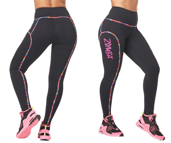Zumba Fitness High Waisted Piped Ankle Leggings - Bold Black