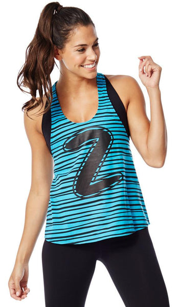 Zumba Fitness Let Loose Striped Racerback - Bangin Blue