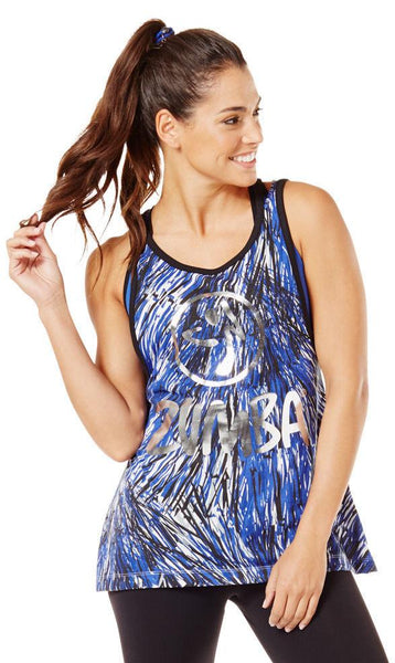 Zumba Fitness Love Me or Loose Me Tank - Surfs Up Blue