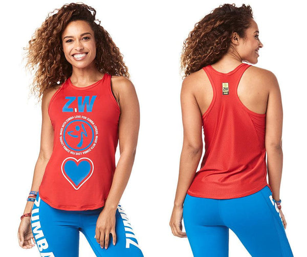 Zumba Fitness Made With Zumba Love High Neck Tank - Viva La Red