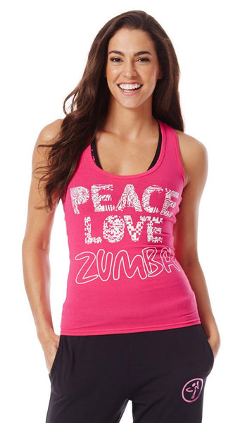 Zumba Fitness Peace Love-N-Racerback - Back to the Fuchsia (CLOSEOUT)