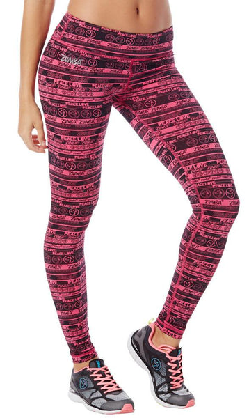 Zumba Fitness Peace Perfect Long Leggings - Back to the Fuchsia