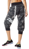 Zumba Fitness Print Perfect Cargo Capri Pants - Gray