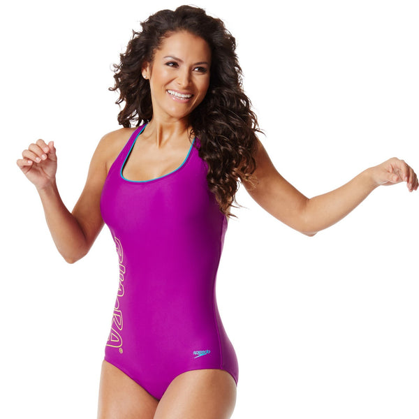 Zumba Fitness Aqua Zumba by Speedo Women's Rock With Me Ultraback One Piece Swimsuit - Vivid Violet (CLOSEOUT)