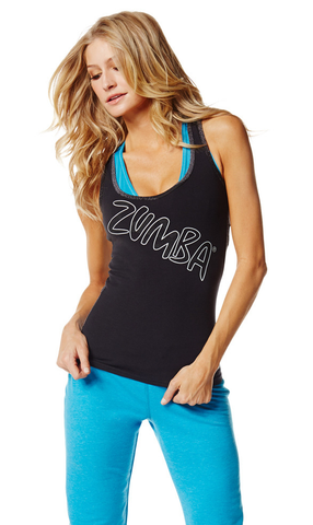 Zumba Fitness Slim Shaded Racerback - Sew Black