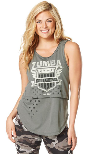 Zumba Fitness Z Army Layered Tank - Go For Gunmetal (CLOSEOUT)