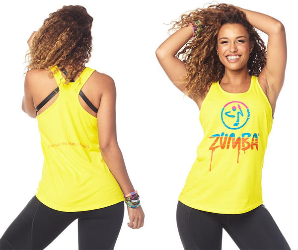Zumba Fitness Dripping in Zumba Loose Tank - Mell-Oh Yellow