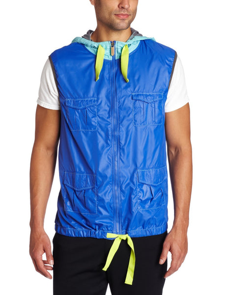 Zumba Fitness Men's Breakout Mesh Hoodie Vest - Blue (CLOSEOUT)