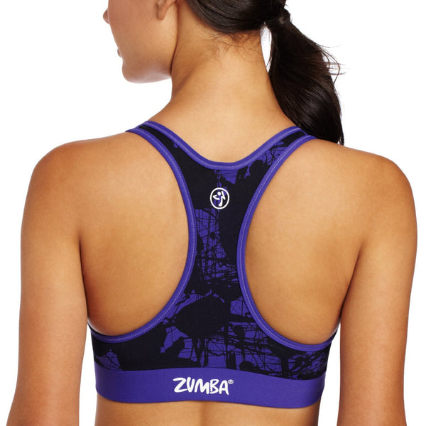 Zumba Fitness Pretty in Print V-Bra Top - Amethyst