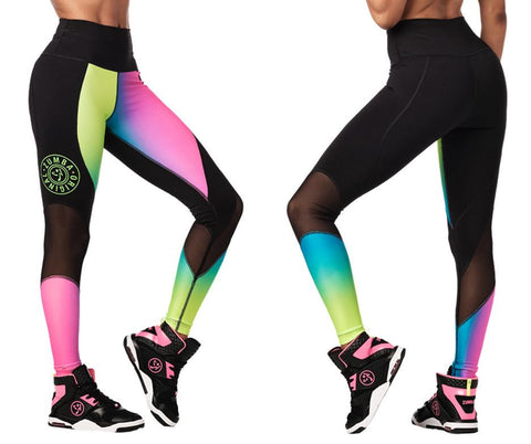 Zumba Fitness Surf High Waisted Panel Leggings - Gumball