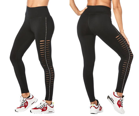 Zumba Fitness Zumba Lovers High Waisted Slashed Ankle Leggings - Bold Black