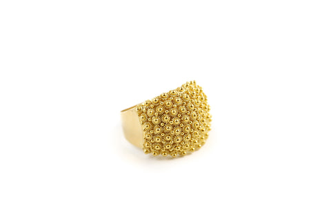 Gold Honeycomb Filigree Ring