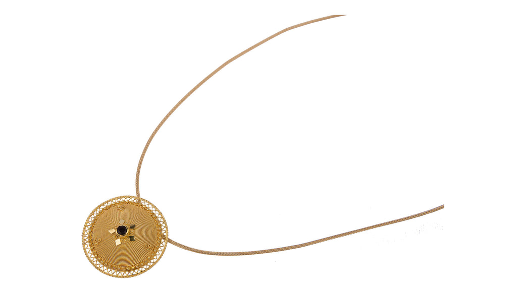 Sardinian Button Gold Filigree Necklace
