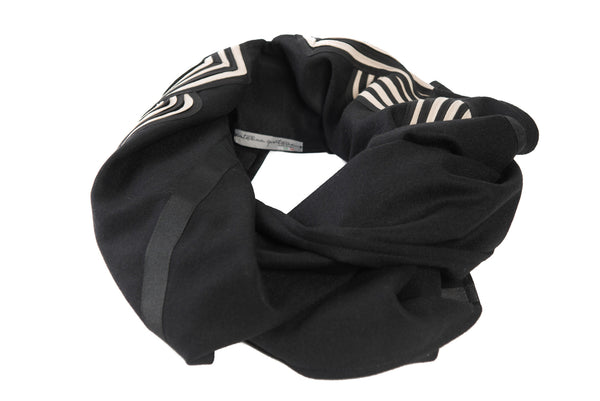 Black Wool Poncho-Scarf