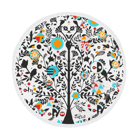 Sardinian Tree of Life Round Beach Towel