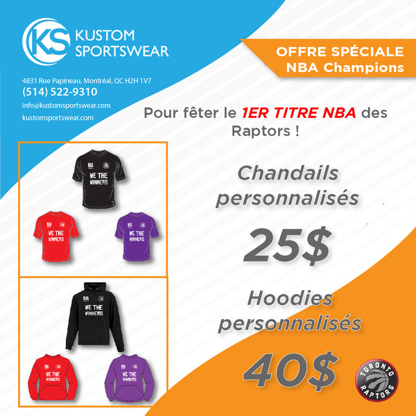 CHANDAILS & HOODIES RAPTORS NBA CHAMPIONS