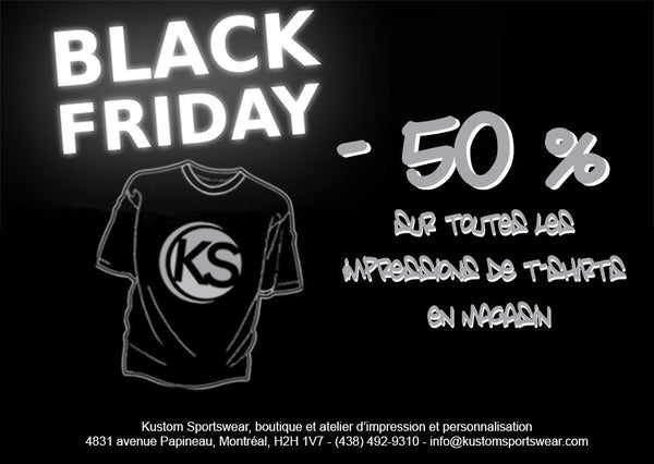 -50% pour le Black Friday sur l'impression de t-shirt!