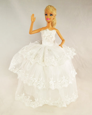Flower Embroidered Layered White Barbie Dress