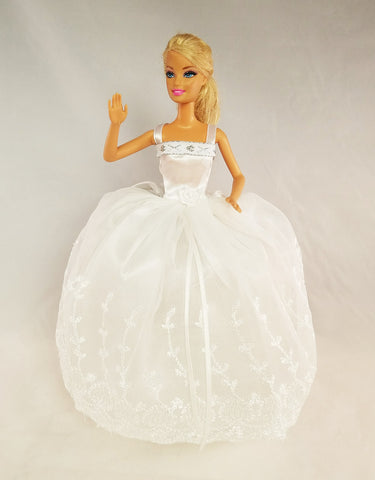 Sweet White Barbie Dress with Silver Details