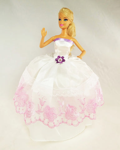 White Barbie Dress with Pink Embroidery