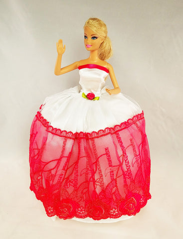 Embroidered Fuchsia and White Barbie Dress