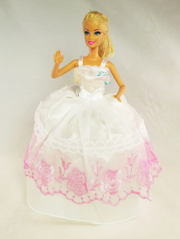 White and Pink Barbie Dress with Rainbow Ruffles