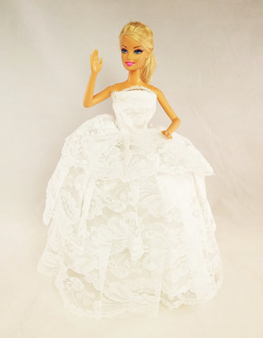 Layered Lace White Barbie Dress