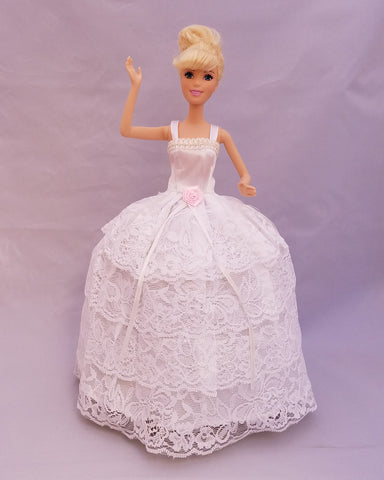 Layered Lace White Barbie Dress with Rose Embellishment