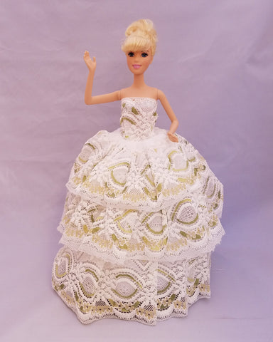 White Lace Barbie Dress with Green and Gold Accets