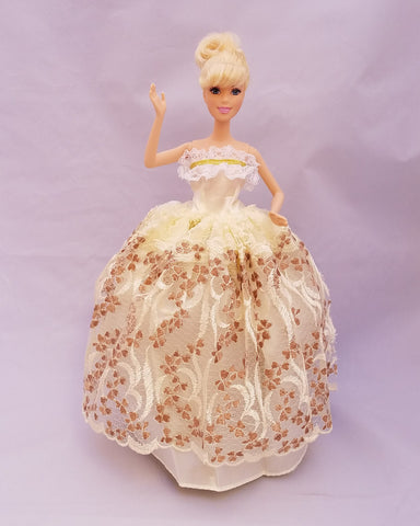 Beige Barbie Dress with Chocolate Brown Embroidery