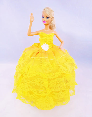Layered Lace Yellow Barbie Dress