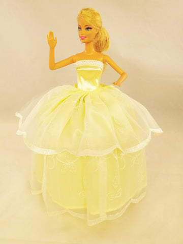 Pastel Yellow and white Embroidery Barbie Dress