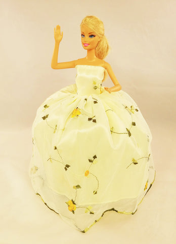Light Yellow Flower Embroidered Tulle Barbie Dress