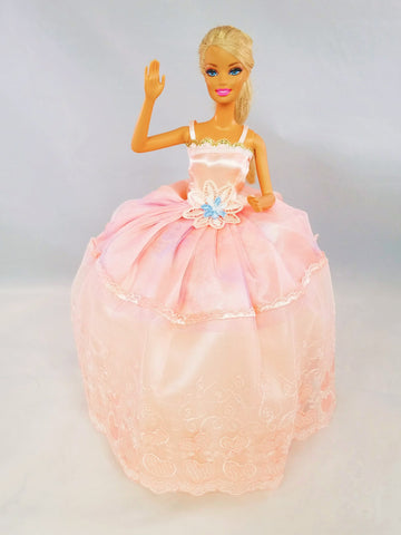 Peach Color Barbie Dress with Gold Trimming