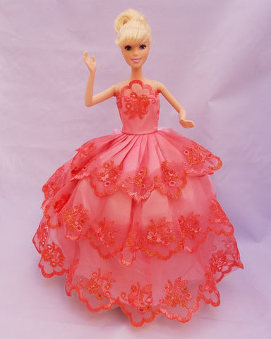 Flower Embroidered Coral Barbie Dress