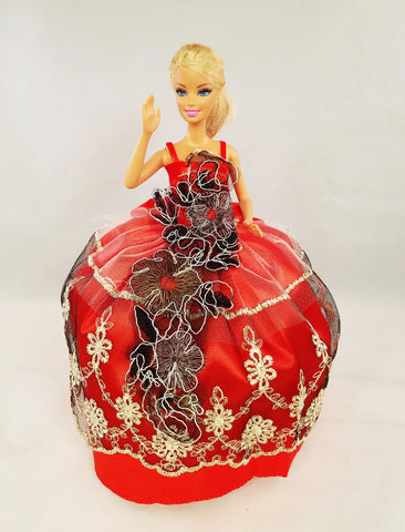Red, Black, Gold and Silver Barbie Dress with Flower Embellishment