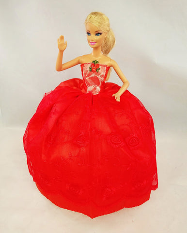 Embroidered Red Barbie Dress with Mistletoe Embellishment