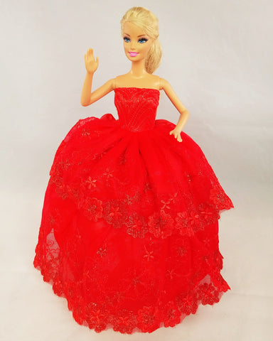 Layered Flower Embroidered Red Barbie Dress with Lace