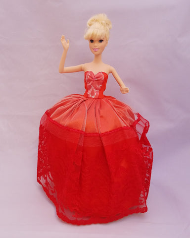 Red Barbie Dress with Silver Accents