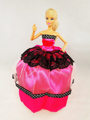 Black Lace Pink Fuchsia Barbie Dress