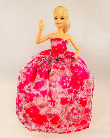 Flowery Pink Fuchsia Barbie Dress