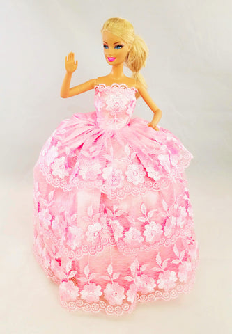 Flower Embroidered Layered Pink Barbie Dress