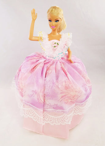 Pink Colorful Ruffled Barbie Dress
