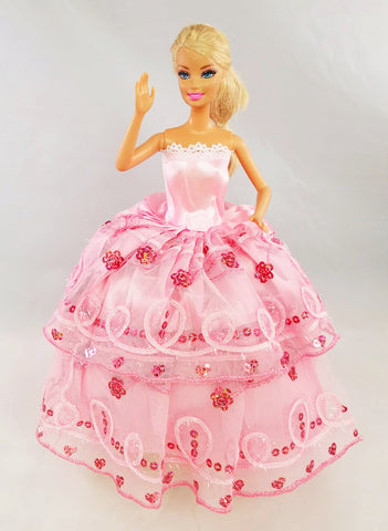 Flower Sequine Magenta and Pink Tulle Barbie Dress