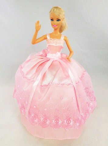 Embroidered Tulle Over Satin Pink Barbie Dress with Bow