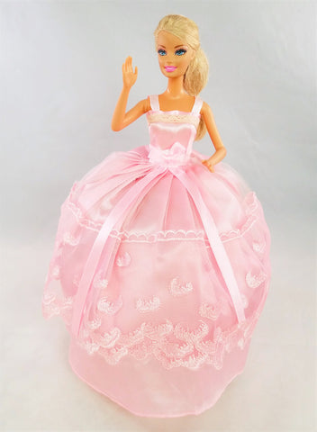 Embroidered Pink Barbie Dress with Lace