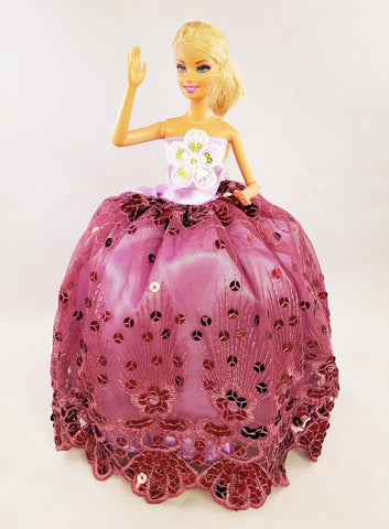 Purple Barbie Dress with Gold Sequined Flower