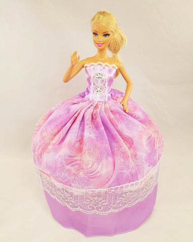 Violet Barbie Dress with Silver Lace
