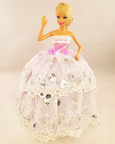 Flower Sequine Tulle Lilac Barbie Dress